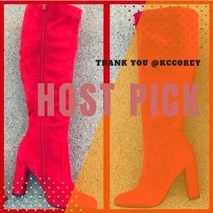 "Soda Shoes Red Fx Suede Knee High 3.75"" Heel Boot"